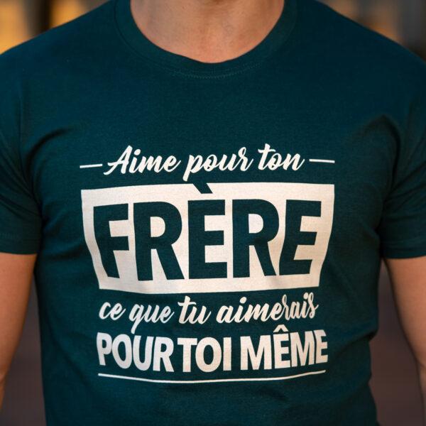 """T-shirt """"Aime pour ton frère"""" – bleu pétrole"""